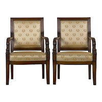 19th Century Pair of French Louis Phillipe Napoleonic Carved Mahogany Arm Chairs