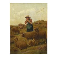 """Shepherdess and Her Sheep"" Antique Oil Painting Signed Franz de Beul, 19th Century"