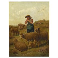 """""""Shepherdess and Her Sheep"""" Antique Oil Painting Signed Franz de Beul, 19th Century"""