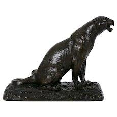 """Roaring Jaguar"" French Modernism Bronze Sculpture by Adolphe Geoffroy"