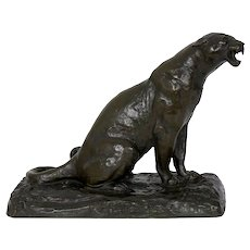 """Roaring Jaguar"" French Modernism Bronze Sculpture by Adolphe Geoffroy"