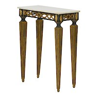 Italian Neoclassical Ebony Painted Marble Top Console Table, 19th Century