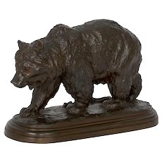 """Walking Bear"" French Bronze Sculpture by Isidore Bonheur & Peyrol"