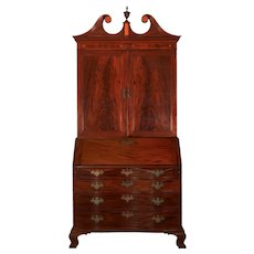 American Chippendale Mahogany Bookcase over Secretary Desk, Massachusetts c. 1780