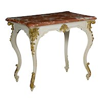 Italian Rococo Painted Antique Accent Console Table in Venetian Taste, 19th Century