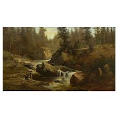 """Lester River, Duluth"" (1890) Antique Landscape Oil Painting by Feodor von Luerzer"