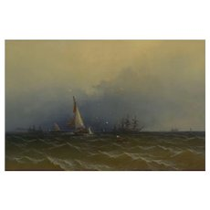 """Channel Scenery"" (1864) Marine Seascape Nautical Painting by James Hamilton"