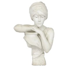 """Rebecca at the Well"" Italian Carved Marble Antique Bust Sculpture by Antonio Piazza"