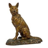 """Berger Allemand Assis"" (German Shepherd) French Bronze Sculpture by Louis Riché"