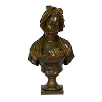 "French Antique Bronze Sculpture ""Bust of Girl"" by Eugene Laurent and Susse Freres"