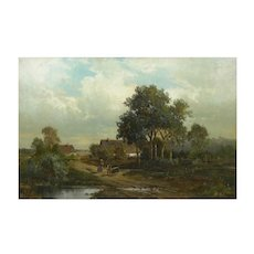 """Bamberg Bavaria"" (1880) American Antique Landscape Painting by Carl Weber"