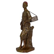 "French Orientalism Antique Bronze Sculpture ""Décrotteur Arabe"" by Edouard Drouot"
