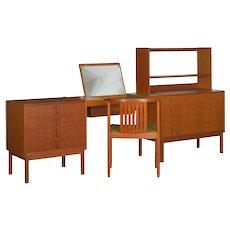 Mid Century Modern Bedroom Dresser Set & Desk by Bertil Fridhagen