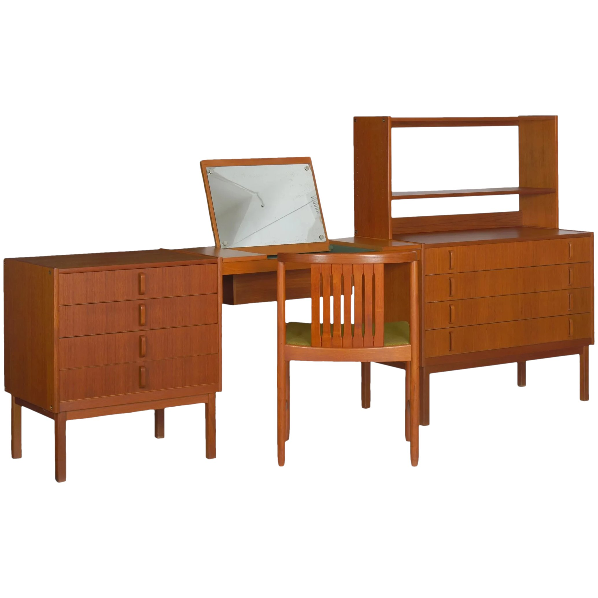 Mid Century Modern Bedroom Dresser Set Desk By Bertil Fridhagen Silla Ltd Ruby Lane