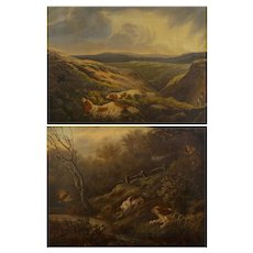 Pair of English Antique Hunt Scene Landscape Paintings w/ Setter Dogs