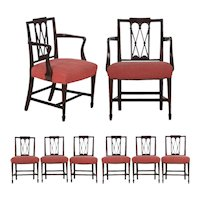 19th Century English Regency Antique Carved Mahogany Dining Chairs - Set of 8
