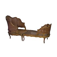French Louis XV Style Antique Duchesse Brisée Arm Chair Lounge, 19th Century
