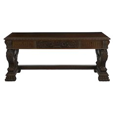 German Rococo Revival Carved Walnut Antique Library Table Desk by Z.K.W.A.M.Z.