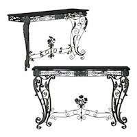 Pair of Art Nouveau Wrought Iron Antique Black Stone Console Tables
