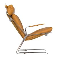 """Vintage Modern Leather """"Pirate"""" Lounge Chair by Elsa & Nordahl Solheim"""
