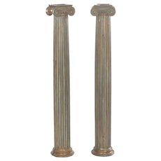 Pair of Antique Cast Bronze Columns Pillars, Early 20th Century