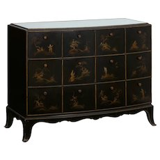 Art Deco Chinoiserie Mirrored Top Chest of Drawers Dresser circa 1940s