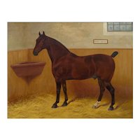 """""""Hedon Squire"""" Antique British Equestrian Horse Painting by Frank Babbage c. 1901"""