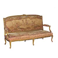 French Louis XV Style Aubusson Upholstered Antique Settee Sofa, Paris c. 1890