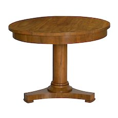 19th Century Austrian Biedermeier Walnut Antique Round Center Table