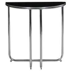 Art Deco Chrome and Black Lacquer Demilune Side Table by Royalchrome