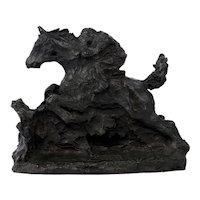 "French Modernist Bronze Sculpture of ""Horse & Rider"" cast by Susse Freres"