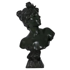 "Art Nouveau Antique Bronze Sculpture ""Bust of Diane"" by Emmanuel Villanis"
