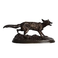 """Rare French Bronze Sculpture of """"Panting Fox"""" by Pierre Jules Mene circa 1870"""