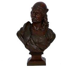 """Gallic Warrior"" Antique French Bronze Sculpture Bust by Albert Froger"