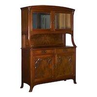 French Antique Art Nouveau Carved Walnut Server Buffet Cabinet
