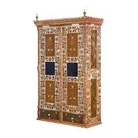European Bohemian Antique Folk Art Floral Painted Armoire Wardrobe Cabinet