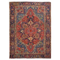 Antique Room Size Heriz Heris Rug with Serapi Colors, 12.5' x 9.25', circa 1920s