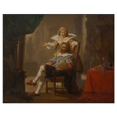 """""""Artist and His Muse"""" (1856) Antique Painting by Hendrik Frans Schaefels"""