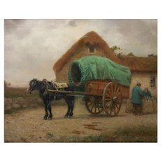 """Loading the Cargo Wagon"" Antique Barbizon Oil Painting by Frank Russell Green"
