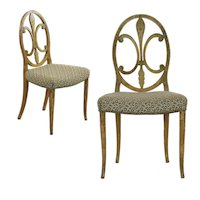 Pair of Neoclassical Painted Accent Antique Side Chairs, 19th Century