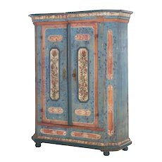 "18th Century German Bavarian Blue Painted Antique ""Kas"" Armoire Cabinet"