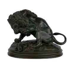 """Lion au Serpent No. 3"" French Bronze Sculpture by Antoine-Louis Barye & Delafontaine"