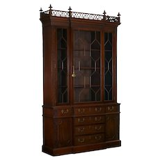 19th Century English George III Style Mahogany Antique Bookcase Cabinet