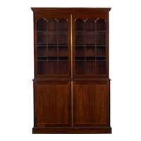 George III Style English Antique Rosewood Breakfront Bookcase Cabinet, 20th Century