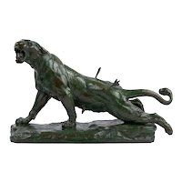 """Wounded Lioness"" French Antique Bronze Sculpture by Charles Valton"