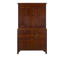 19th Century English Oak and Pine Antique Cupboard over Chest of Drawers