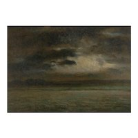 """Stormy Landscape"" 19th Century French Barbizon School Antique Painting"