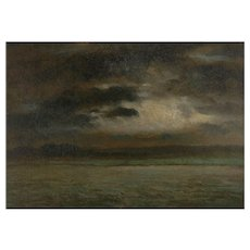 """Stormy Landscape"" 19th Century French Barbizon School Antique Painting"