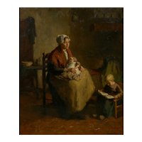 """Mother and Her Children"" Antique Interior Painting by Bernard de Hoog (Dutch, 1866-1943)"