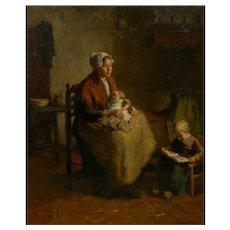"""Mother and Her Children"" Antique Interior Painting by Bernard de Hoog (Dutch, 1866-1943)"